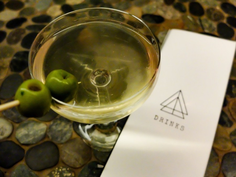 dirty martini and menu at bad hunter