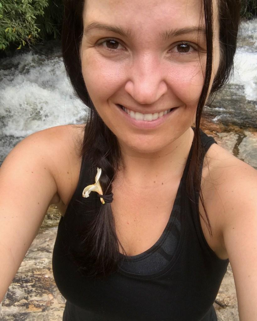 woman selfie at waterfall