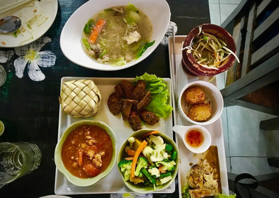 table filled with chiang mai food
