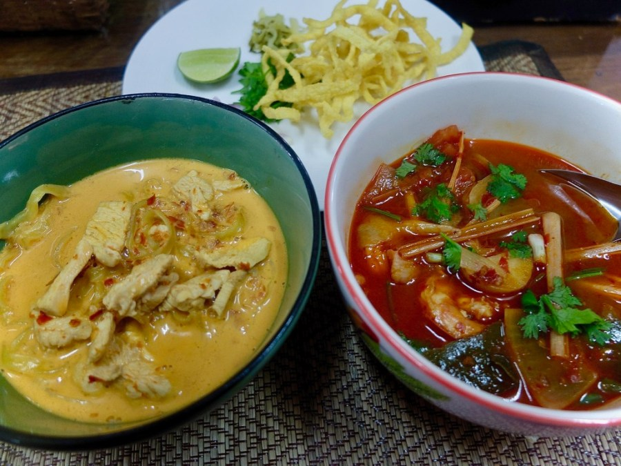 khao soi and tom yum soup