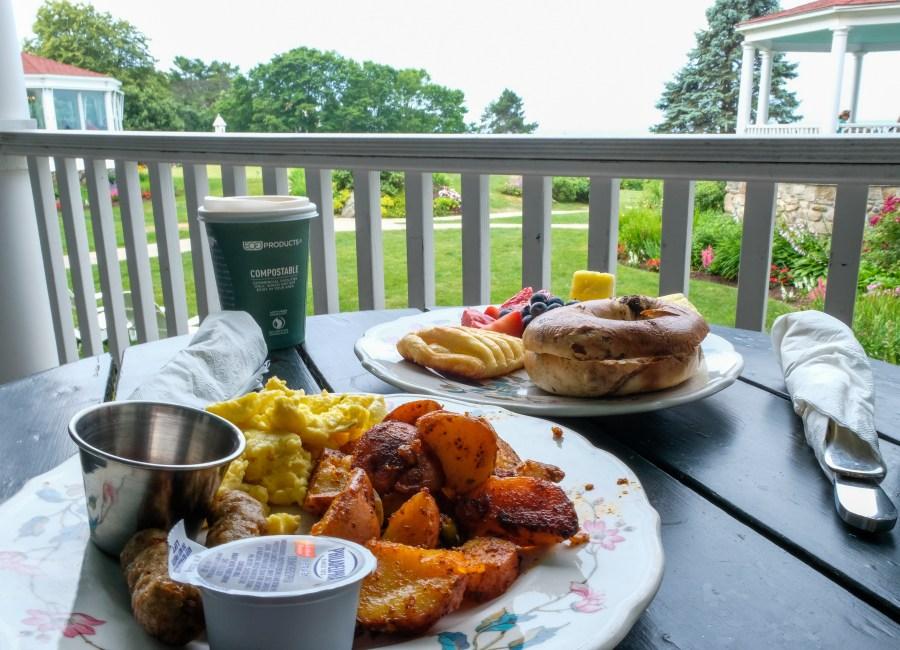 breakfast at garden table