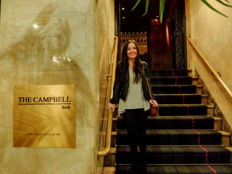 girl on steps of the campbell bar