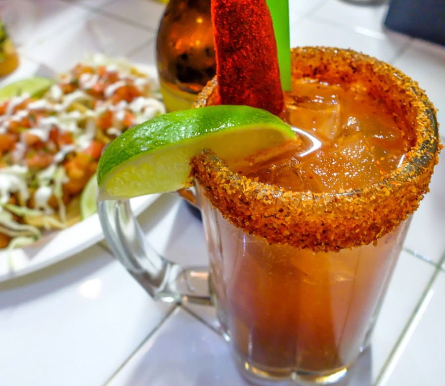 Michelada cocktail on bar at one of the best Mexican restaurants in NYC.