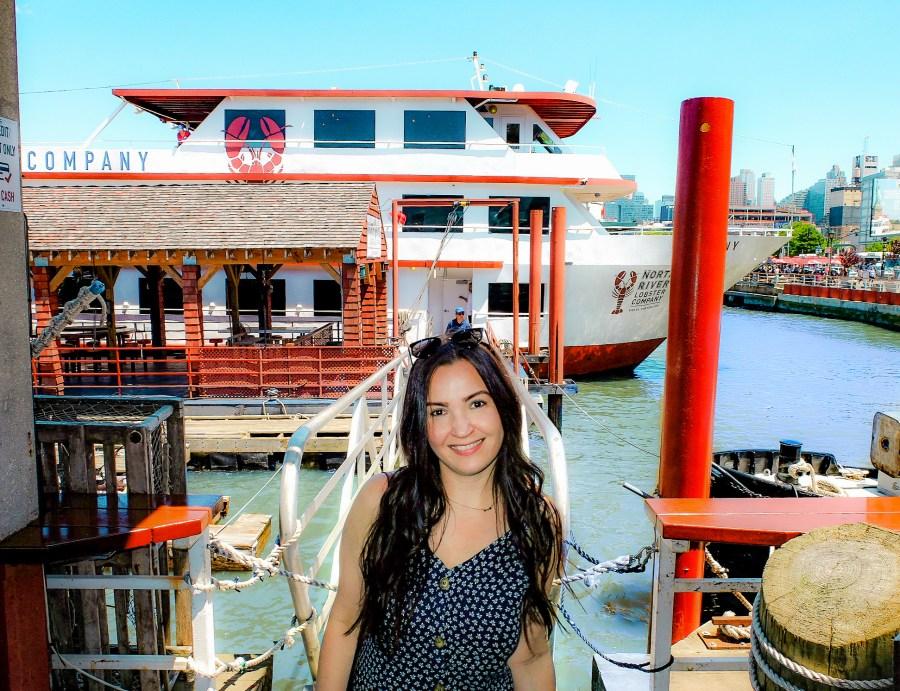 North River Lobster Co boat on Hudson River