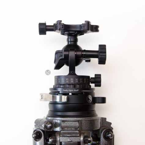 Gitzo series 3 mountaineer tripod with the Really Right Stuff TA-3-LC-HK: Series 3 Leveling Base with Clamp and Hook.  The Really Right Stuff TH-DVTL-55: Round Dovetail Plate is mounted to the bottom of my Acratech GP ballhead.