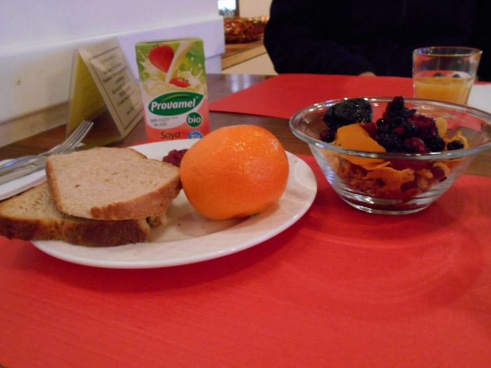 Vegan breakfast with berries at Hotel Freieck, Chur, Graubunden, Switzerland