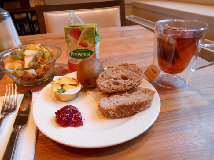 Vegan breakfast at Hotel Freieck, Chur, Graubunden, Switzerland