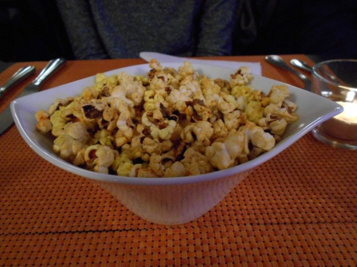 Popcorn at HelVeg Café in Geneva, Switzerland