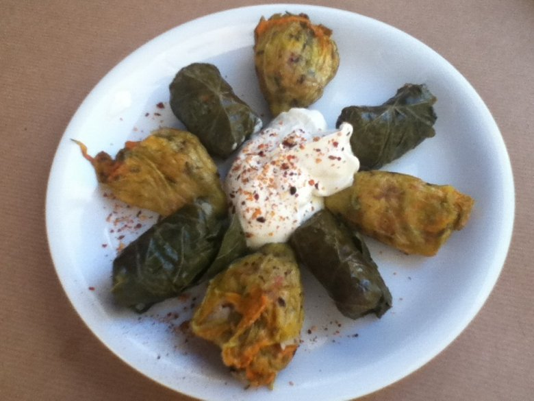 Stuffed vine leaves or zucchini flowers at Kalderimi restaurant, Chania, Crete