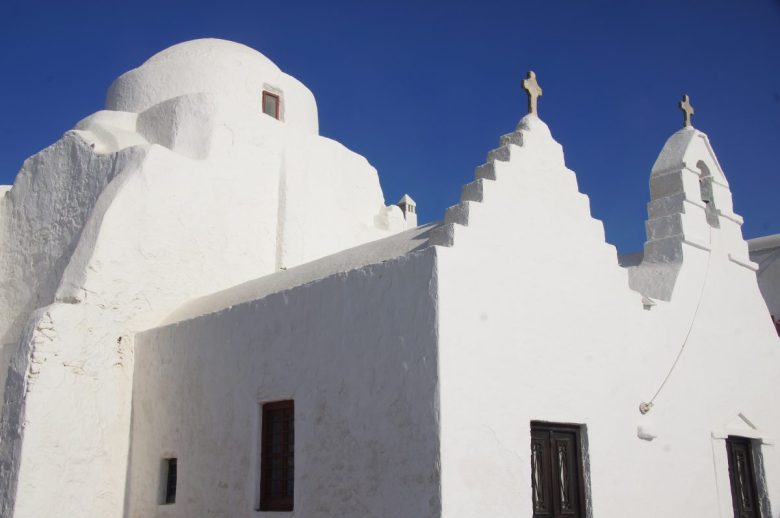 White-washed churches in Mykonos, Greece