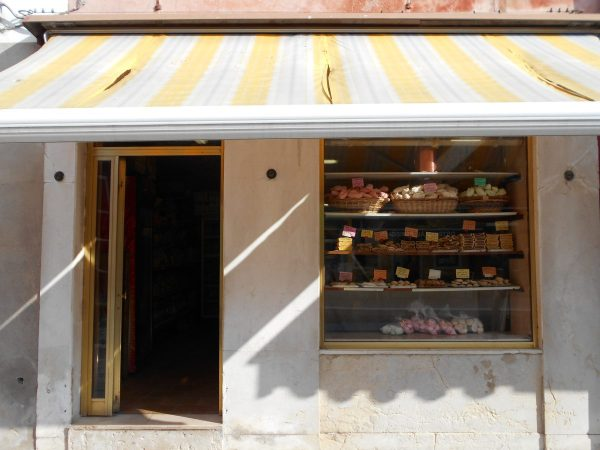 Vegan sweets at Panificio Garbo Giorgio in Burano, near Venice