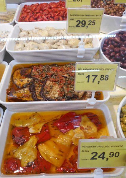 Vegan food in an Italian supermarket deli