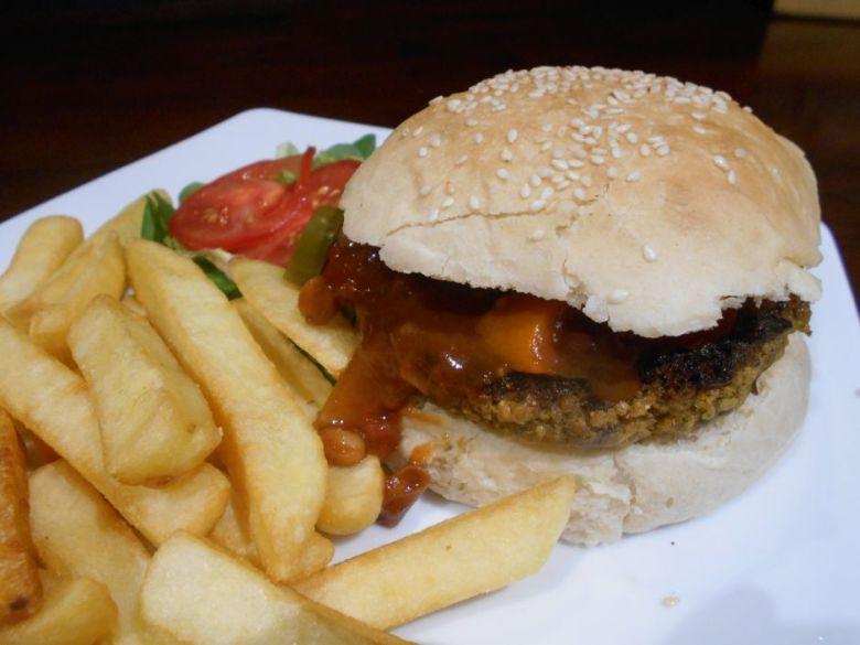 Vegan chili burger at Lady Luck Canterbury