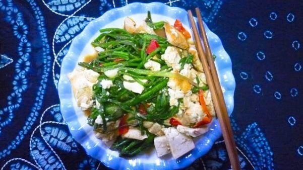Tofu and local greens - Living The China Study
