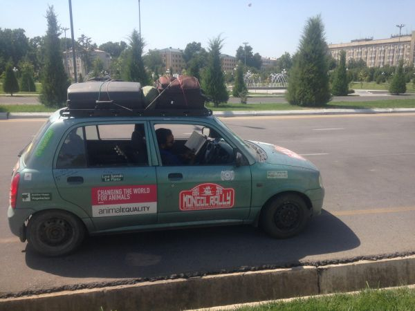 our small ridiculous car - how to be vegan on the mongol rally