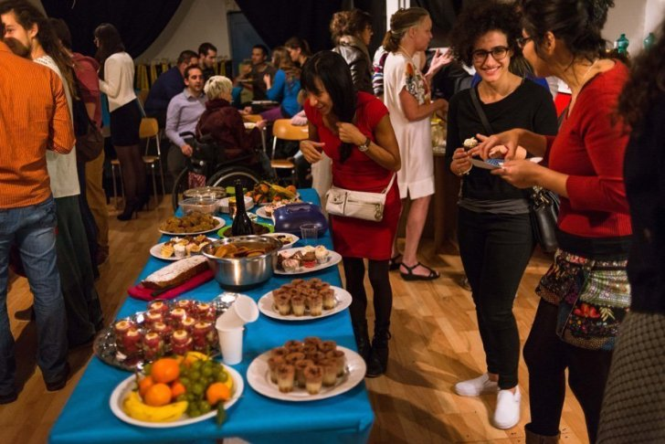 Vegan buffet at a World Vegan Month event in Lausanne, Switzerland