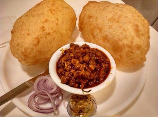 8. Chole Bathure - vegan Indian food