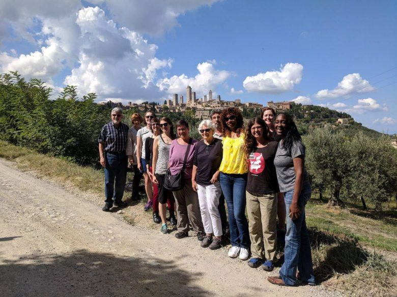 San Gimignano Italy vegan tour group