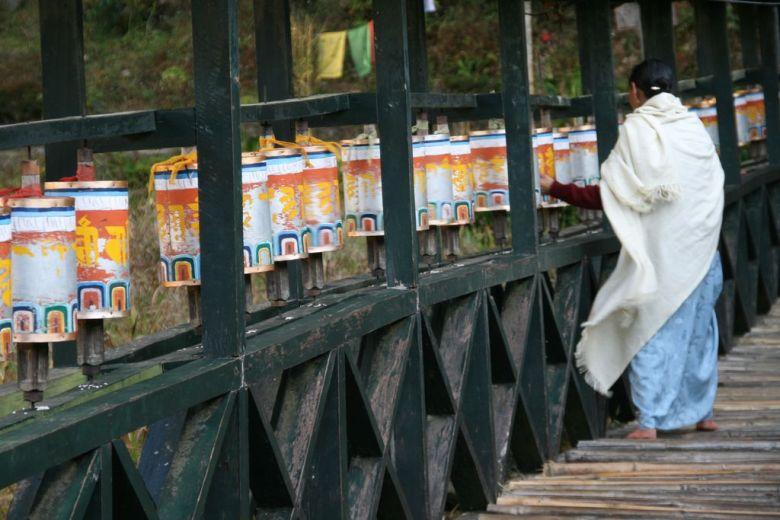 Buddhist prayer wheels in Sikkim India