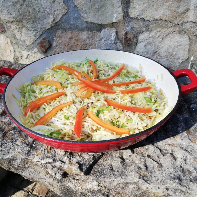 Vegan version of bacalhau à Brás, a famous Portuguese dish