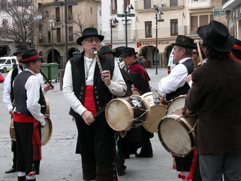 Tamorileros in Plaza Mayor of Plasencia Spain