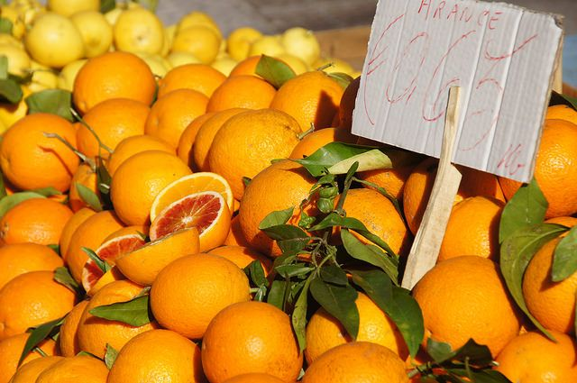 Tarocco blood oranges at a market in Sicily
