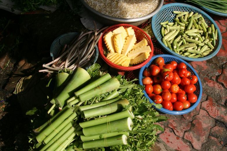 Produce on offer at a daily market in the Mekong Delta, Vietnam