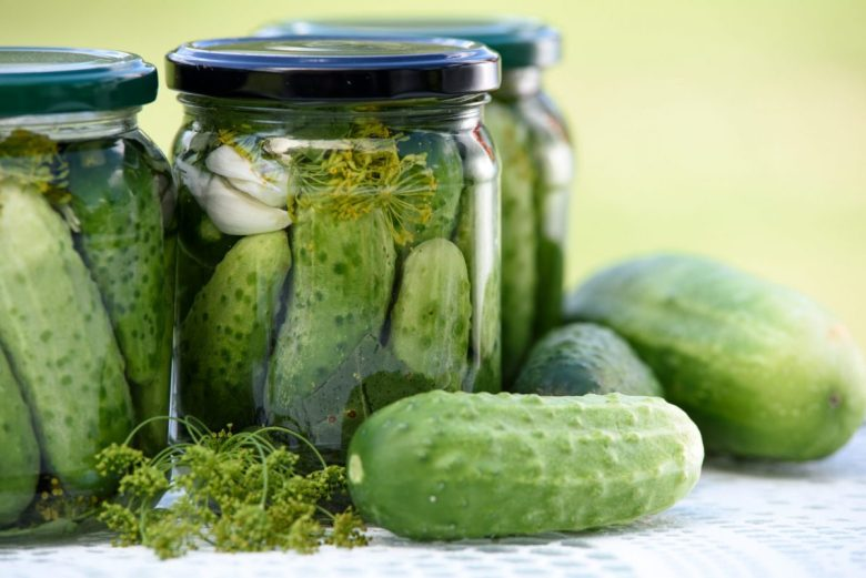 Pickled cucumbers - a typical vegan Polish food