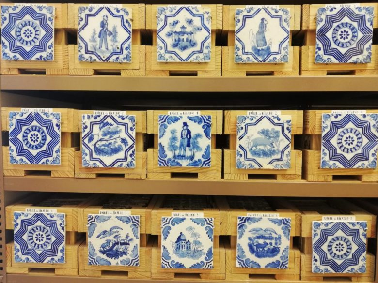 Drawers filled with azulejos at the Banco de Materiais