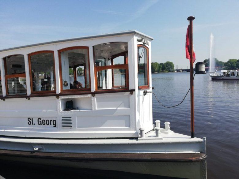 St Georg steamship on Inner Alster Lake Hamburg