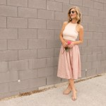 Pastel Pink (midi skirt with crop top)
