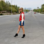 VARSITY BOMBER JACKET AND DENIM MINI SKIRT