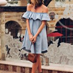 Off the shoulder chambray summer dress / Save vs. Splurge