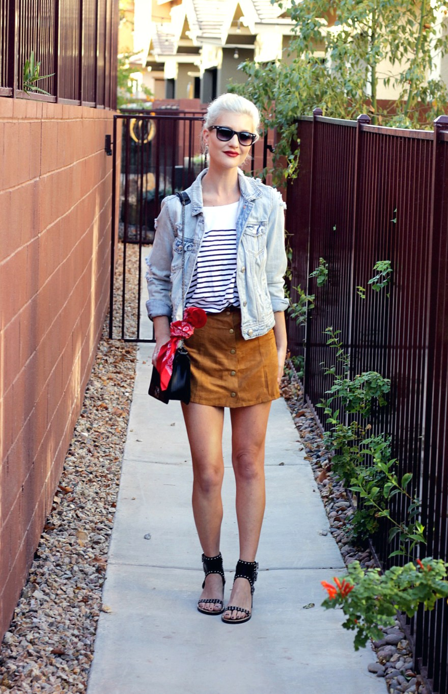 suede-skirt-denim-jacket-studded-sandals-striped-tee-outfit-ootd-lindsey-simon-las-vegas-fashion-blogger-1