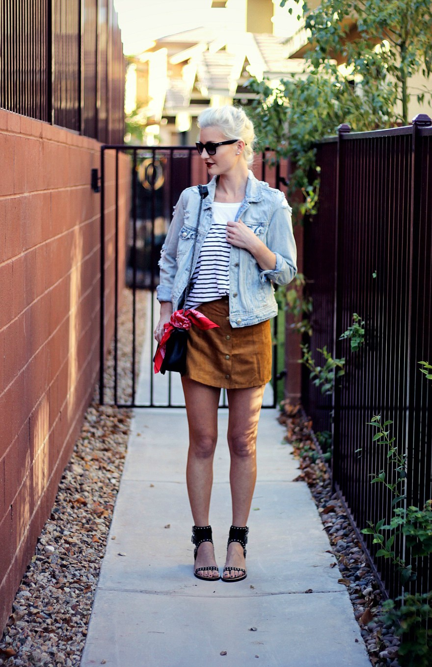 suede-skirt-denim-jacket-studded-sandals-striped-tee-outfit-ootd-lindsey-simon-las-vegas-fashion-blogger-2