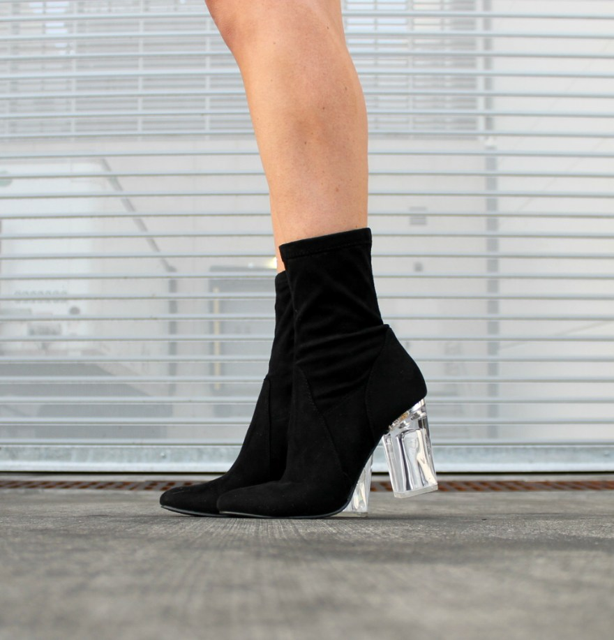 sock booties, lucite heel, clear heel, holiday outfit, holiday boots, Christmas shoes, holiday heels, the noms niche, Lindsey Simon, statement shoes, Las Vegas fashion blogger, street style, outfit details