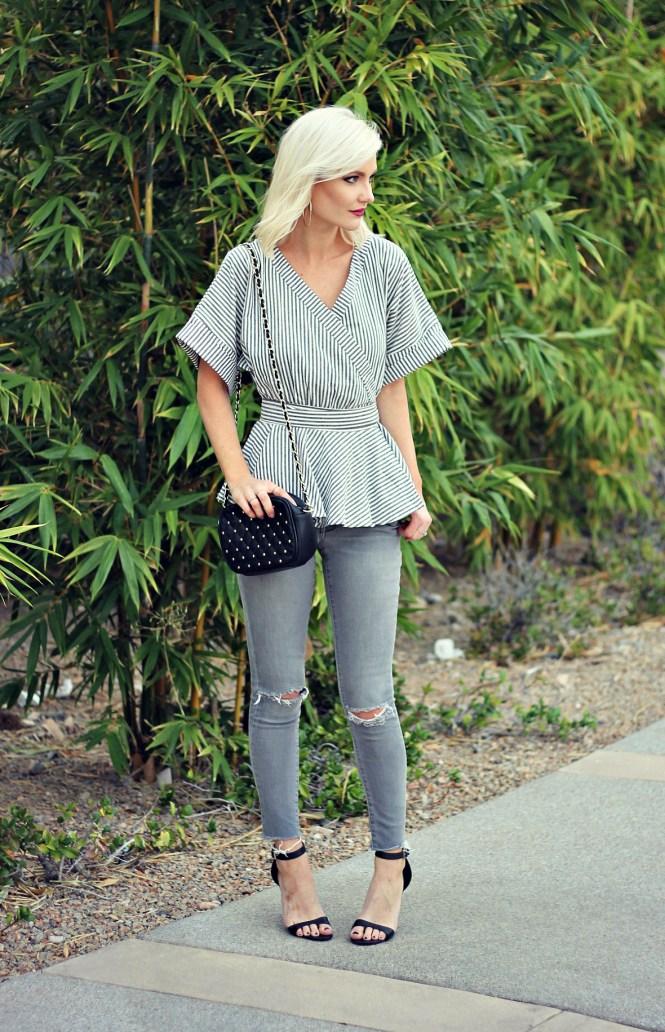 distressed-denim-gray-jeans-studded-purse-striped-top-romwe-peplum-top-ankle-strap-sandals-las-vegas-fashoin-blogger-las-vegas-beauty-blogger-1