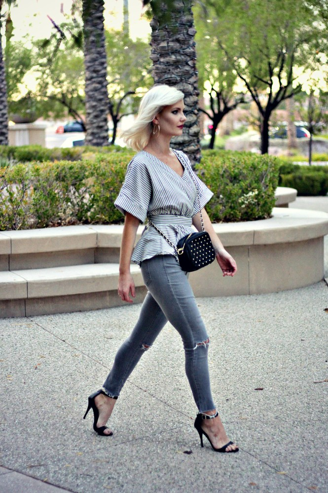 distressed-denim-gray-jeans-studded-purse-striped-top-romwe-peplum-top-ankle-strap-sandals-las-vegas-fashoin-blogger-las-vegas-beauty-blogger-3