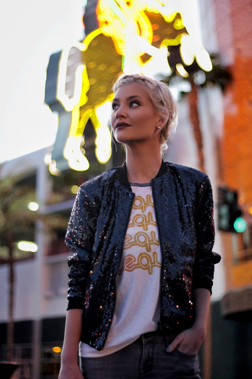 Daytime sequins style with a bomber jacket - The Nomis Niche