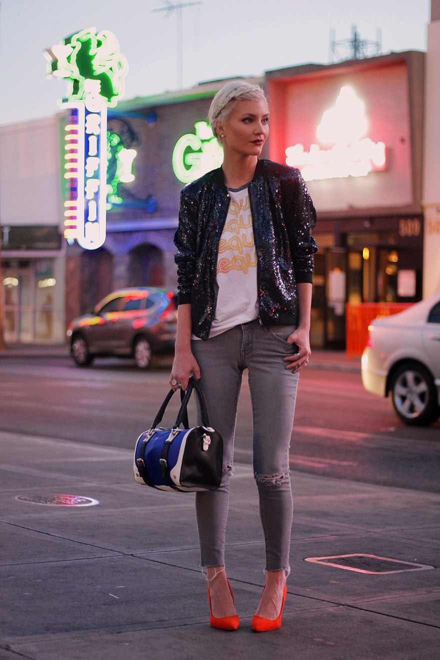 Daytime sequins with a bomber jacket - The Nomis Niche