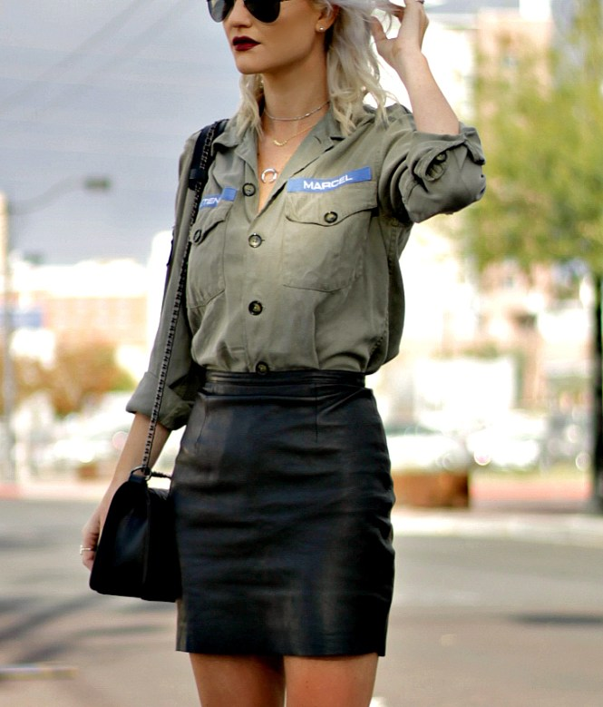 stella-and-dot-military-shirt-leather-skirt-sock-booties-7