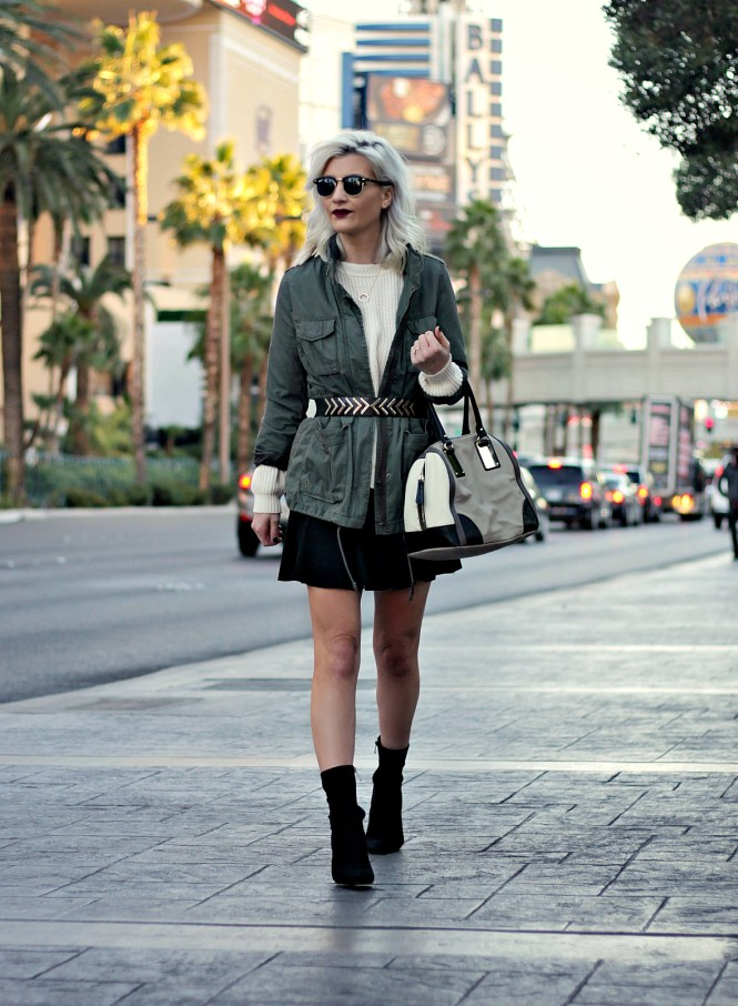 skater skirt, military, utility jacket, military style, sock booties, clear heel, lucite heel, belted outerwear, winter style , winter fashion, winter outfit, las vegas, fashion blogger