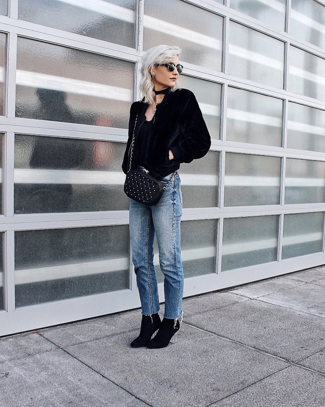 winter style, furry coat, faux fur coat, winter fashion, crop jeans, raw hem jeans, sock booties, lucite heel, clear heel