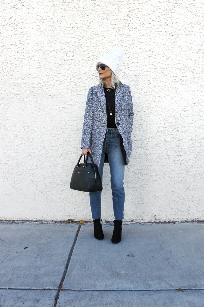 winter style, 2017, gray coat, how to wear, winter outfit, sock booties, beanie, raw hem jeans, fashion blogger