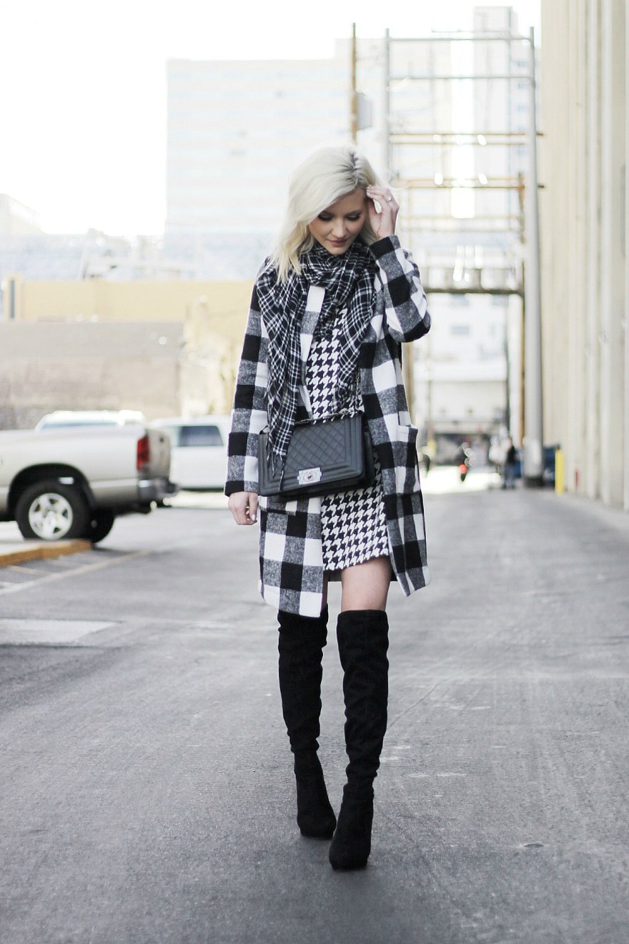 how to, mix prints, mixing prints, black and white, outfit, houndstooth, fashion blogger, las vegas, winter style, winter trends, winter outfit, over the knee boots, how to wear,