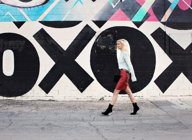 red skirt, sock booties, winter style, fall style, pop of red, winter outfit, fall outfit, fashion blogger, las vegas, gray sweater, mock neck sweater, romwe, the nomis niche, lindsey simon