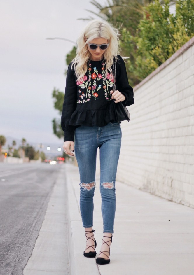 embroidered top, shein, spring style, fashion blogger, street style, ripped jeans, lace up flats, zara, topshop, chanel bag, the nomis niche, lindsey simon