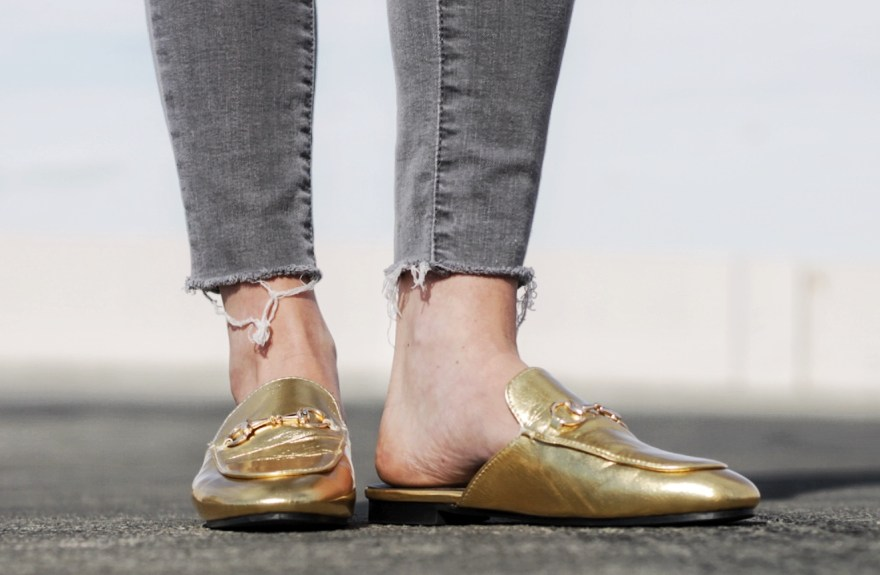 gold mules, bakless loafters, gucci, shein, knockoff, fashion blogger, spring style, fashion, outfit, how to wear, the nomis niche, lindsey simon