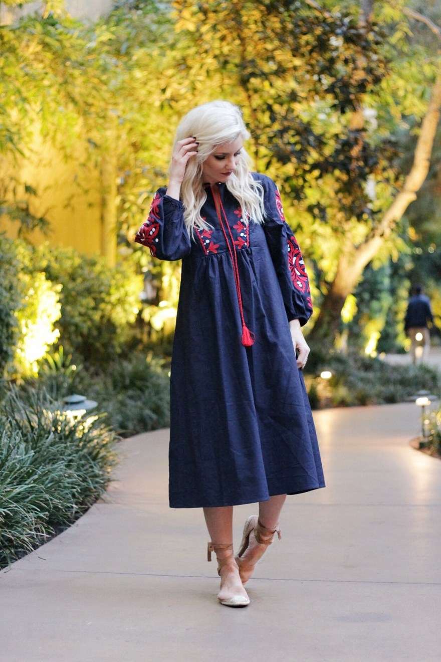 embroidered dress, spring style, fashion blogger, las vegas, espadrilles, steve madden, romwe, style, fashion, blogger, tassels, embroidery