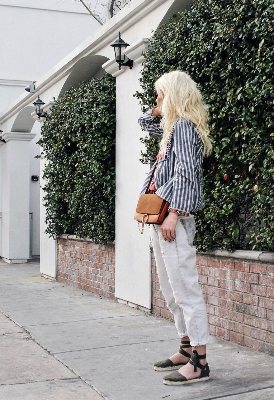 white jeans, striped top, tassels, embroidery, espadrilles, romwe, steve madden, spring style
